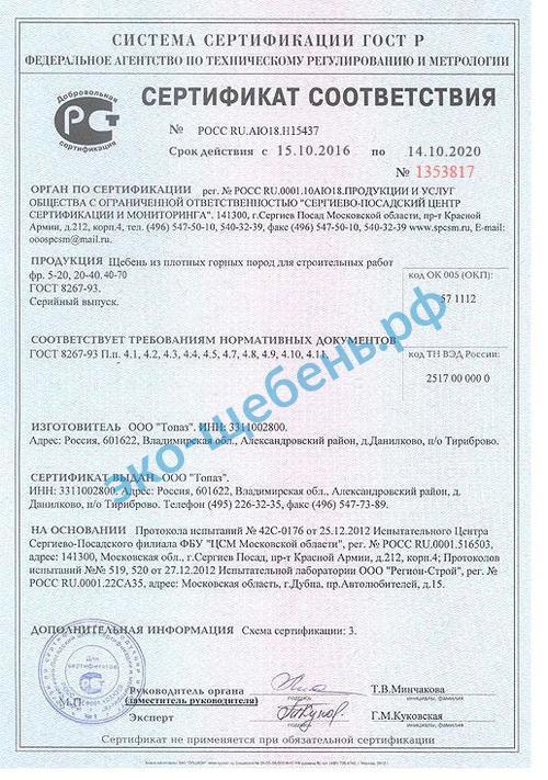 Сертификат гравийный щебень