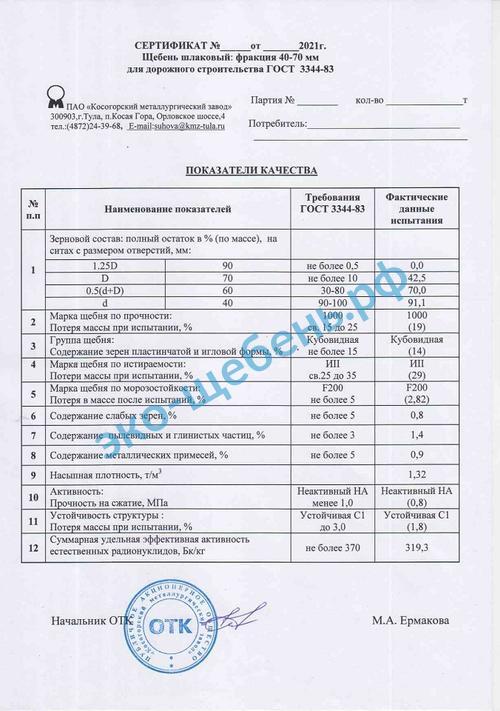 Сертификат на шлаковый щебень 40-70